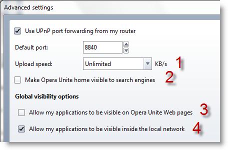 تنظیمات پیشرفته Opera Unite