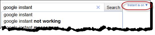 تنظیمات جستجوی بیدرنگ گوگل
