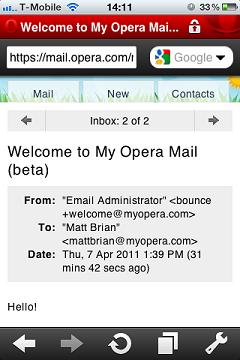 نمایش My Opera Mail در موبایل و تبلت