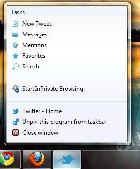 سنجاق کردن توییتر به نوار وظیفه ویندوز
